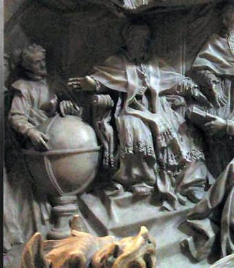 Detail of the tomb of Pope Gregory XIII celebrating the introduction of the Gregorian calendar